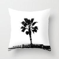 Palm Tree (White) Throw Pillow