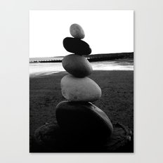 Balancing Rocks on Hornsea Beach Canvas Print