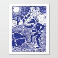 Coyote Dancer (Violet) Canvas Print