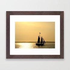 Silhouette Ship Framed Art Print