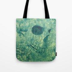 Grunge Skull Green Tote Bag