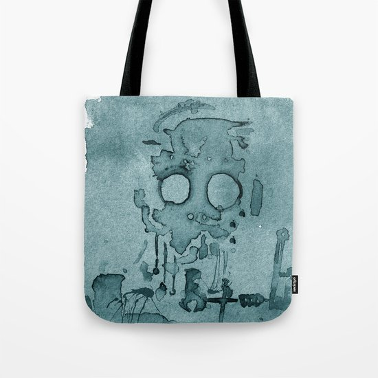 Robot in Blue Tote Bag