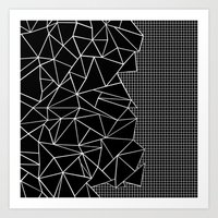 Abstract Grid Outline Wh… Art Print