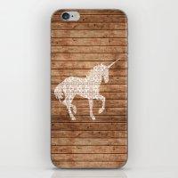 Unicorn On Wood Print iPhone & iPod Skin