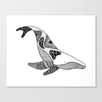 Patchwork Whale Canvas Print