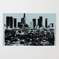 Downtown Los Angeles Skyline - Stamp Pattern on Light Blue Rug