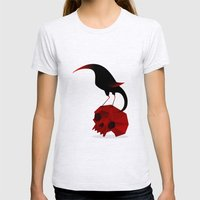 Bird and Skull Womens Fitted Tee Ash Grey SMALL