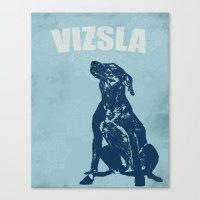 Vizsla Dog In Floral Des… Canvas Print
