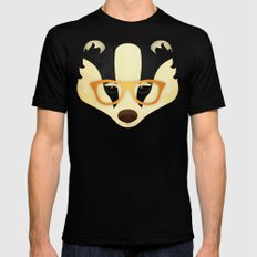 Hipster Badger: Gold Mens Fitted Tee Black SMALL