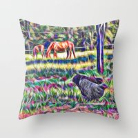 Horses And Hens In A Fie… Throw Pillow