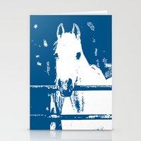 White Horse - Navy Blue Stationery Cards