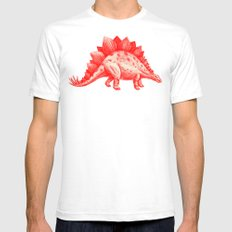 Red Stegosaurus  Mens Fitted Tee White SMALL