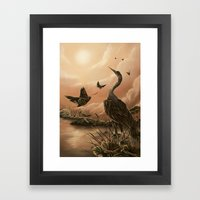 Crane And Moth  Framed Art Print
