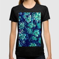 Plants of Blue And Green Womens Fitted Tee Tri-Black SMALL