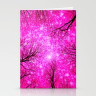Black Trees Hot Pink Spa… Stationery Cards