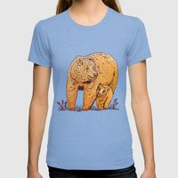 Mother Bear Womens Fitted Tee Tri-Blue SMALL