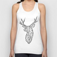 Black Line Faceted Stag Trophy Head Unisex Tank Top