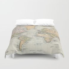 Vintage Map of The World (1892) Duvet Cover