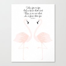 Flamingos on White Canvas Print