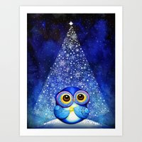 Owl Christmas Tree  Art Print