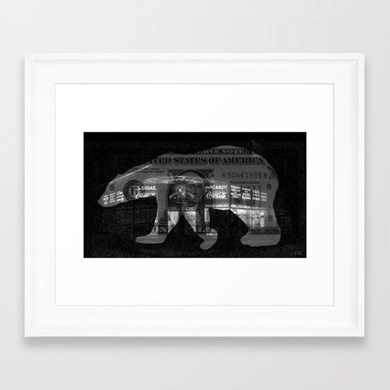 Ice Bear City Collage Framed Art Print
