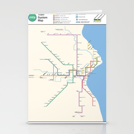 Milwaukee Transit System Map Stationery Card