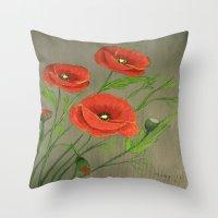 Poppies-3 Throw Pillow