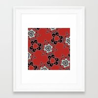 Framed Art Prints featuring Red Pattern by Rebecca's Fabric Designs