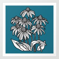 Blue Flowers Square Art Print