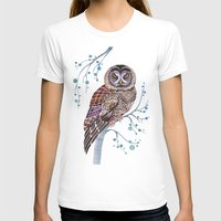 Lacy Owl Womens Fitted Tee White SMALL