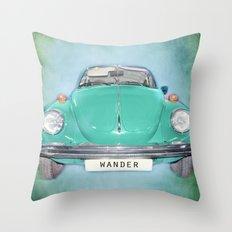 Wander Old Beetle. Green  Vintage Volkswagen Throw Pillow