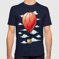 Hot Air Balloon Mens Fitted Tee Navy SMALL