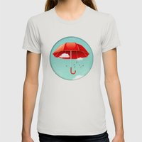 Teal Sky Red Umbrella Womens Fitted Tee Silver SMALL