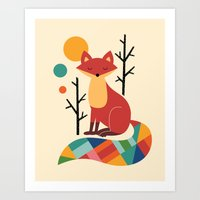 rainbow Art Prints featuring Rainbow Fox by Andy Westface