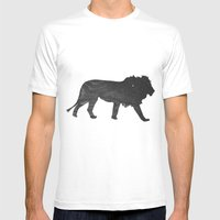 Lion (The Living Things Series) Mens Fitted Tee White SMALL