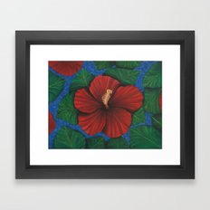 Tropical Hibiscus in Red island art painting Framed Art Print