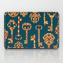 Yellow and Red Skeleton Key Pattern iPad Case