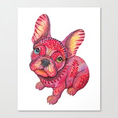 Raspberry Frenchie Canvas Print