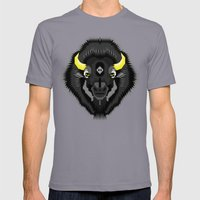 Geometric Bison Mens Fitted Tee Slate SMALL