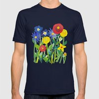 Spring Flowers Mens Fitted Tee Navy SMALL