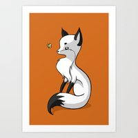 Fox and a Butterfly Art Print