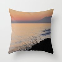 Caressing the waves Throw Pillow