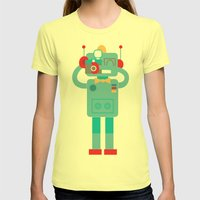 Robot loves Diana Womens Fitted Tee Lemon SMALL