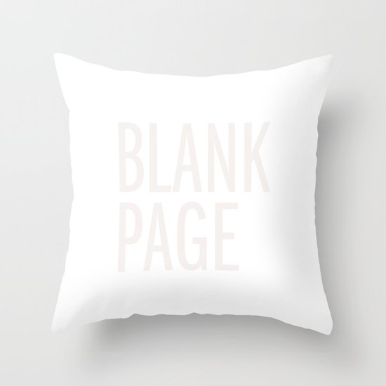 Blank Page Throw Pillow