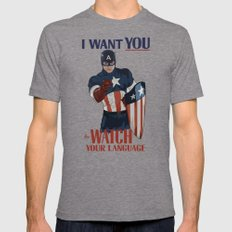 I want you to watch your language Mens Fitted Tee Tri-Grey SMALL