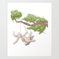 Swing Low Sweet Bunny Art Print