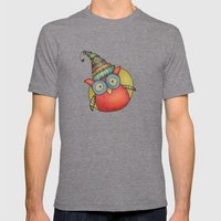 Puki Owl Pattern Mens Fitted Tee Tri-Grey SMALL