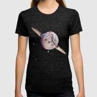 Space Sparrows Womens Fitted Tee Tri-Black SMALL