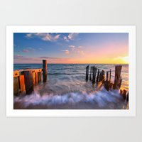 Rushing Waves At Sunset Art Print