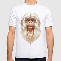 The White Angry Monkey Mens Fitted Tee Ash Grey SMALL
